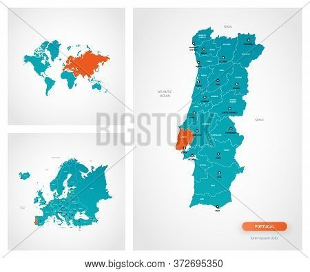 Editable Template Of Map Of Portugal With Marks. Portugal On World Map And On Europe Map.
