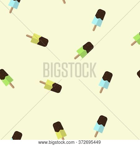 Icecreams With Chocolate Sauce Seamless Pattern Vector