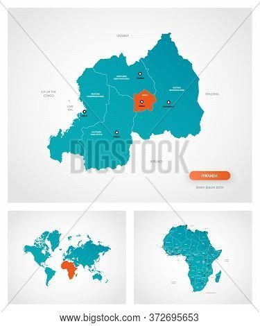 Editable Template Of Map Of Rwanda With Marks. Rwanda On World Map And On Africa Map.