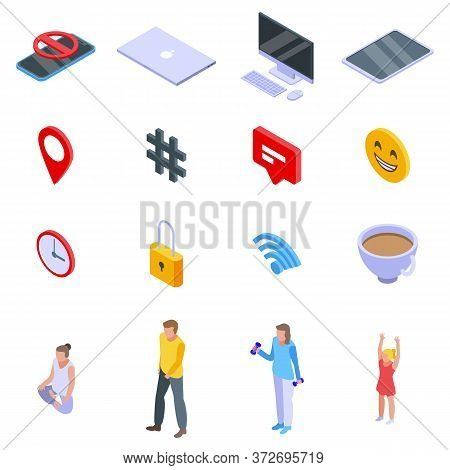 Digital Detoxing Icons Set. Isometric Set Of Digital Detoxing Vector Icons For Web Design Isolated O