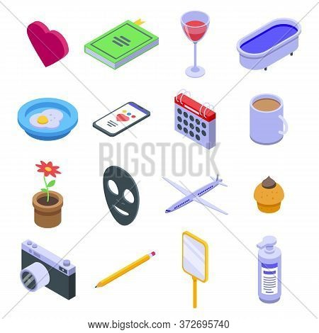 Self-care Icons Set. Isometric Set Of Self-care Vector Icons For Web Design Isolated On White Backgr