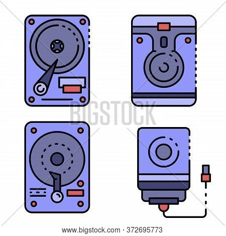 Hard Disk Icons Set. Outline Set Of Hard Disk Vector Icons Thin Line Color Flat On White