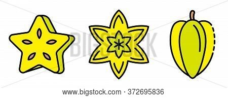 Carambola Icons Set. Outline Set Of Carambola Vector Icons Thin Line Color Flat On White