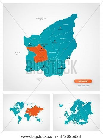 Editable Template Of Map Of San Marino With Marks. San Marino On World Map And On Europe Map.