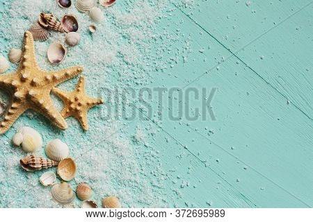 Seashells Summer Background. Many Different Seashells, Starfish On A Background Of Turquoise Wooden
