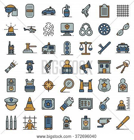 Police Equipment Icons Set. Outline Set Of Police Equipment Vector Icons Thin Line Color Flat On Whi
