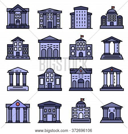 Courthouse Icons Set. Outline Set Of Courthouse Vector Icons Thin Line Color Flat On White
