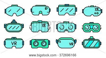 Game Goggles Icons Set. Outline Set Of Game Goggles Vector Icons Thin Line Color Flat On White