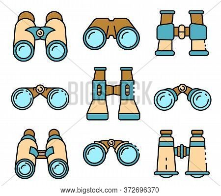 Binoculars Icons Set. Outline Set Of Binoculars Vector Icons Thin Line Color Flat On White