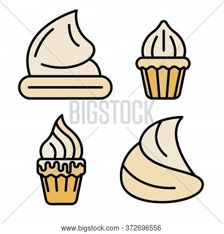 Meringue Icons Set. Outline Set Of Meringue Vector Icons Thin Line Color Flat On White