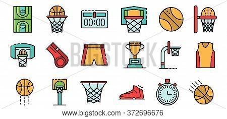 Basketball Equipment Icons Set. Outline Set Of Basketball Equipment Vector Icons Thin Line Color Fla