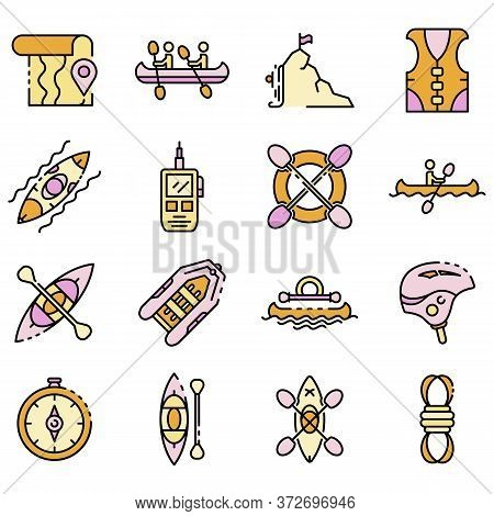 Canoeing Icons Set. Outline Set Of Canoeing Vector Icons Thin Line Color Flat On White