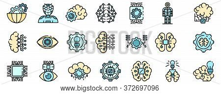Artificial Intelligence Icons Set. Outline Set Of Artificial Intelligence Vector Icons Thin Line Col