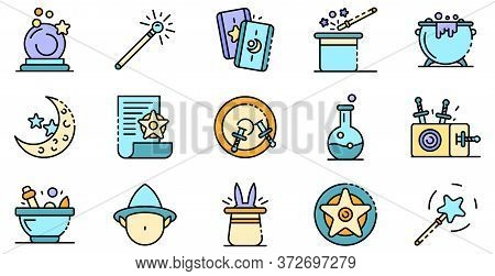 Wizard Tools Icons Set. Outline Set Of Wizard Tools Vector Icons Thin Line Color Flat On White