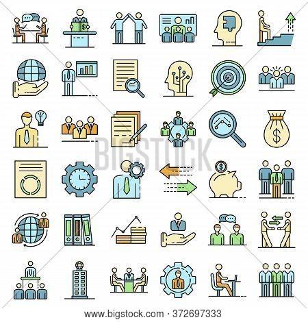 Corporate Governance Icons Set. Outline Set Of Corporate Governance Vector Icons Thin Line Color Fla