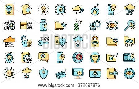 Cyber Attack Icons Set. Outline Set Of Cyber Attack Vector Icons Thin Line Color Flat On White