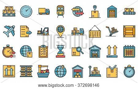 Goods Export Icons Set. Outline Set Of Goods Export Vector Icons Thin Line Color Flat On White
