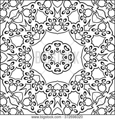 Simple Symmetric Coloring Page For Kids And Adults. Relax Black And White Ornament, Mandala. Meditat