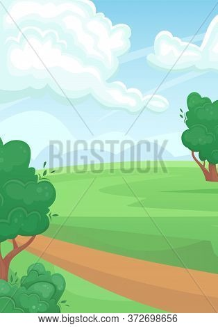 Landscape Of A Green Summer Field With A Dirt Road. Natural Landscape. Agricultural Fields. Agricult