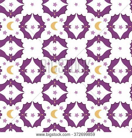 Seamless Vector Pattern Magic Bat. .the Moon And Stars In The Sky. .cartoon Stylization, Flat Style.
