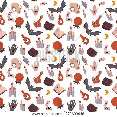 Seamless Vector Pattern Prediction The Future, Magic, Mystic. Attributes Of Occultism: Crystal Ball,
