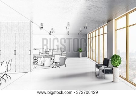 Drawing Luxury Coworking Loft Office Room With City View. Workplace And Corporate Concept. 3d Render