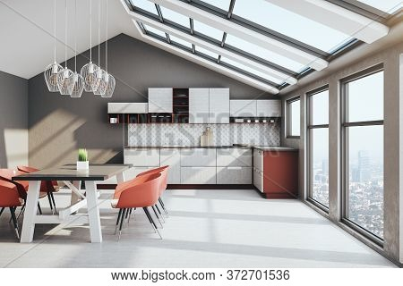 Cozy Loft Kitchen Interior With Furniture, City View And Sunlight. Design And Style Concept. 3d Rend