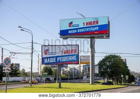 Banners With Agitation For Amendments To The Constitution Of The Russian Federation On The Roads Of