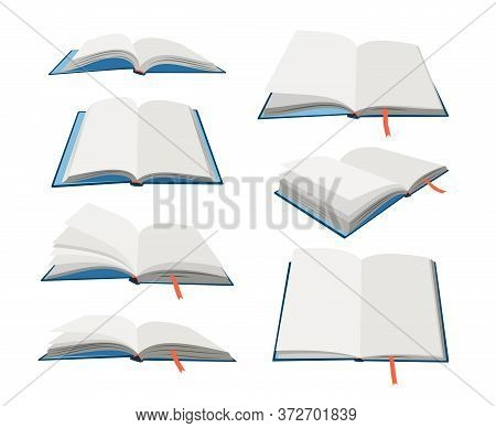 Empty Open Books Set. Cartoon Textbooks With Bookmarks. Blank Books In Blue Hardcovers. Vector Illus