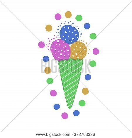 Ice-cream Summer One Product. Bright Color. Hand Drawn Style.