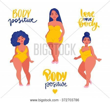 Body Positive, Feminism Sticker Collection. Love Your Body Activists Slogan, Woman Motivational Phra