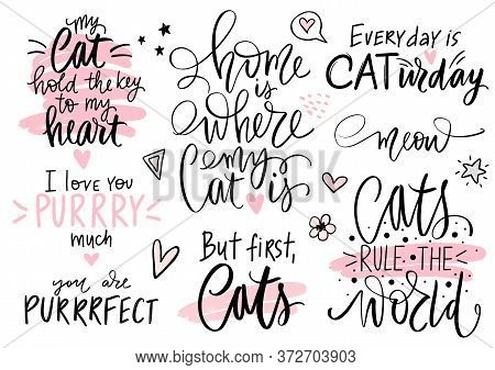 Cats Quotes Set, Meow Lettering, Fashion Kitty Phrases. Cute Vector Set With Funny Sayings.