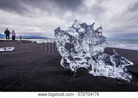Eastern Region, Iceland - June 12, 2018: So Called Diamond Beach On The Atlantic Shore Neat Jokulsar