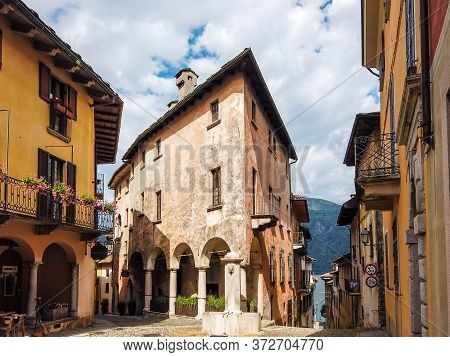 Medieval Building By Day In Cannobio, An Small Town At The Shores Of The Lago Maggiore, Piedmont, It