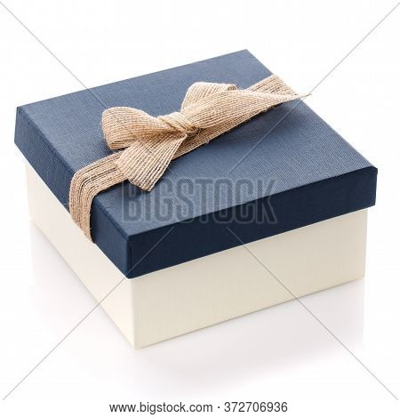 Blue Gift Box With Beautiful Burlap Bow On A White Background. Gift For Man Or Woman.