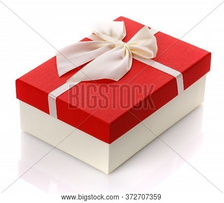 Gift Box With Big White Bow. Isolated On White Background.