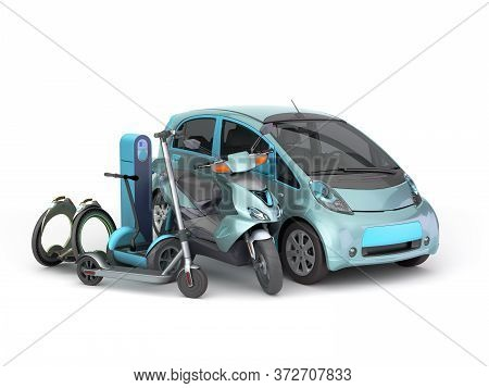 Concept Of Individual Electric Transport Different Type Of Electric Machines On 3d Render On White