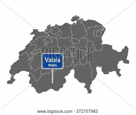 Detailed And Accurate Illustration Of Map Of Switzerland With Road Sign Of Valais