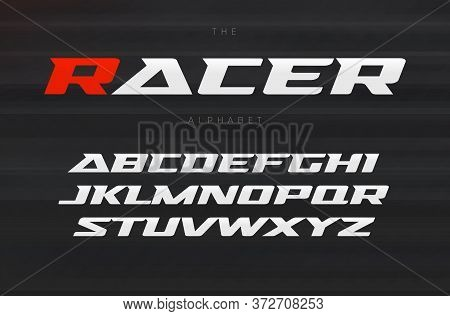 Racing Font, Aggressive And Stylish Lettering Design. Dynamic Letters, Italic Wide Font With Modern