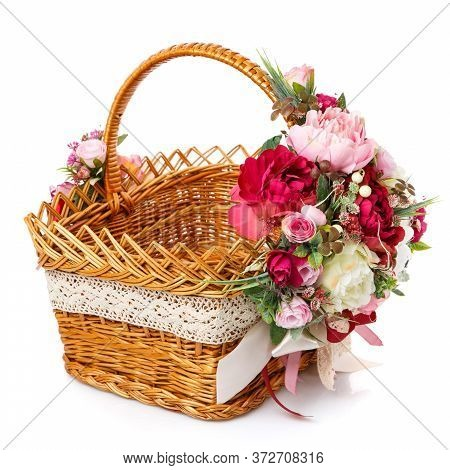Very Beautiful Original Brown Wicker Basket Decorated With Pink And White Peonies. Ribbons And Lace.