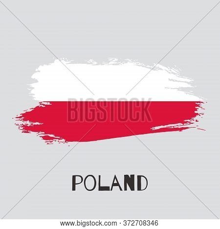 Poland Watercolor Vector National Country Flag Icon. Hand Drawn Dry Brush Stains, Strokes, Spots Iso