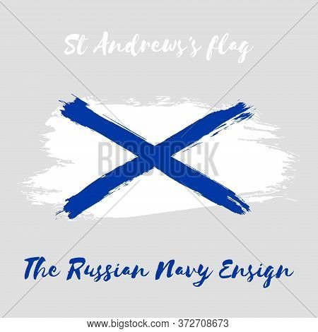St Andrews's Vector Watercolor Flag Icon. The Russian Navy Ensign. Hand Drawn Ink Illustration With