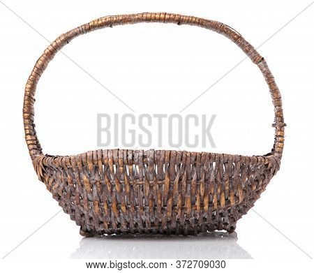 Wicker Basket From A Natural Vine For Harvesting. Isolated On White.