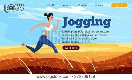 Jogging Landing Page. Athletic Woman Sprinter Running. Sport Motivation And Healthy Lifestyle. Rural