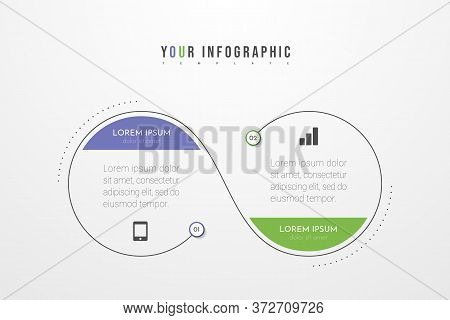 Minimal Business Infographics Template With 2 Steps, Options And Marketing Icons. Vector Infographic