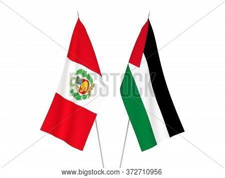 National Fabric Flags Of Palestine And Peru Isolated On White Background. 3d Rendering Illustration.