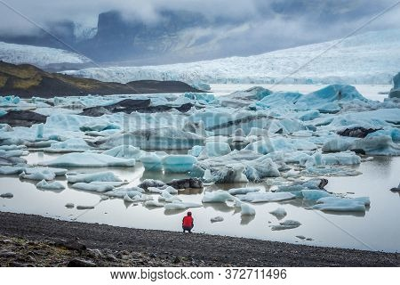 View On Icebergs On The Fjallsarlon Glacial Lagoon In Iceland