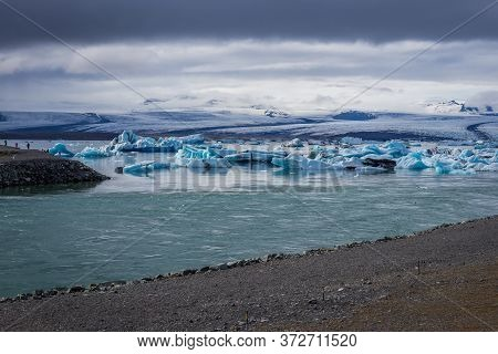 Icebergs On Jokulsarlon - Literally Glacial River Lagoon, Large Glacial Lake In Iceland