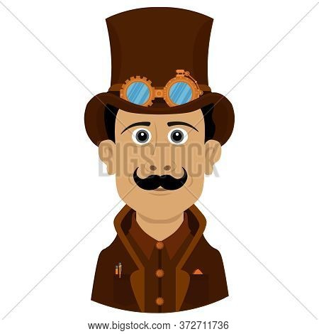 A Man In An Unusual Stylish Steampunk Suit. Vector Illustration With A Person On A White Isolated Ba