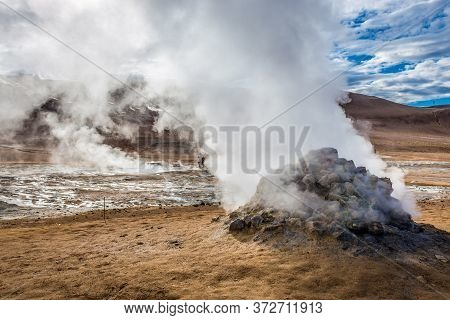 Hverir Geothermal Area With Boiling Mudpools And Steaming Fumaroles Near Reykjahlid Town Iceland